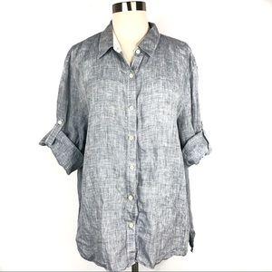 Lafayette 148 NY Linen Button Down Shirt Size 16